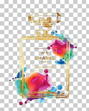 Chanel No. 5 Perfume Watercolor Painting Poster PNG