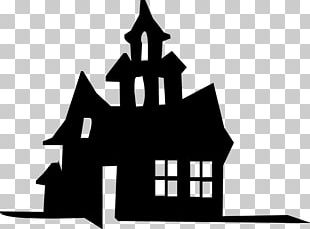 Haunted House Silhouette Stencil PNG