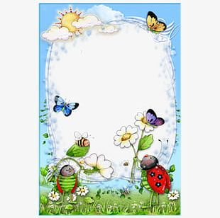 Ladybird Flowers Butterfly Frame PNG