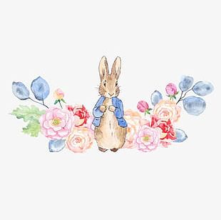 Rabbit And Flowers PNG