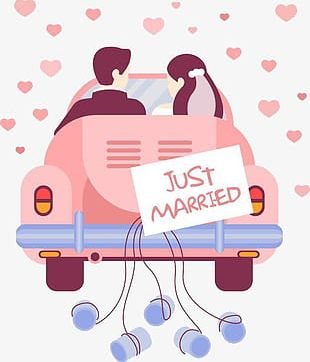 The Bride And Groom Wedding Car PNG
