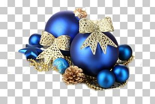 Christmas Decoration Christmas Ornament Blue Gold PNG