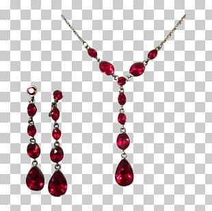 Earring Ruby Necklace Cubic Zirconia Imitation Gemstones & Rhinestones PNG