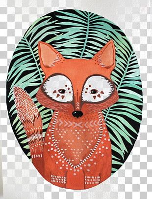 Watercolor Painting Art Fox Printing Illustration PNG