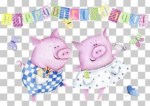 Domestic Pig Wedding Invitation Birthday Greeting Card Illustration PNG
