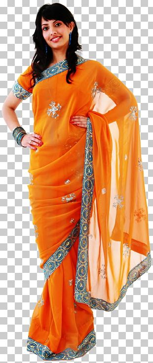 Sari Shoulder Orange S.A. Woman Costume PNG