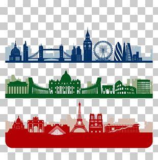 Paris London Skyline Silhouette PNG