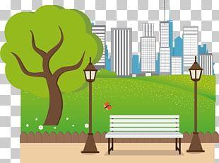 Urban Park Cartoon Illustration PNG