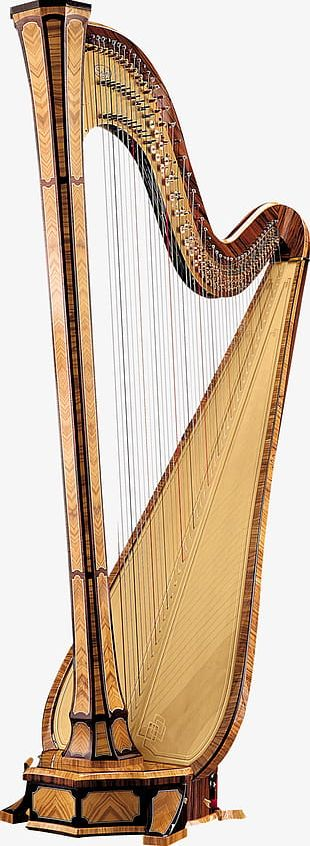 Brown Beautiful Harp PNG