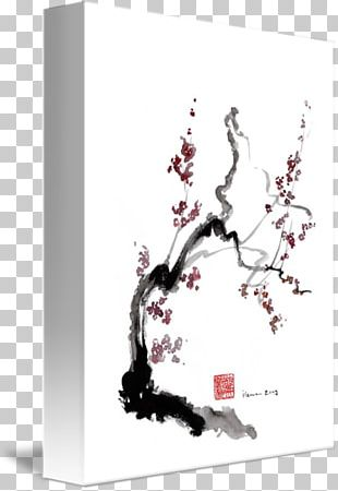 Cherry Blossom Ink Wash Painting Japanese Art PNG