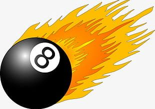 No. 8 With Black Color Of The Fire Billiards PNG