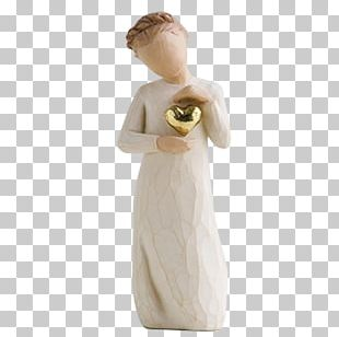 Willow Tree Gold Figurine Sculpture PNG