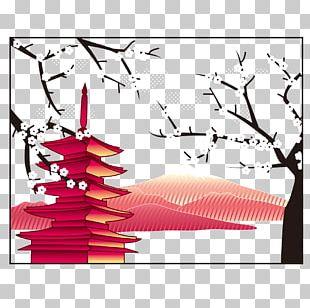 Mount Fuji Japanese Pagoda Illustration PNG