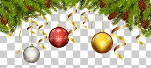 Christmas Balls With Pine Branch Decoration PNG