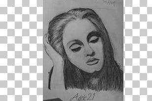 Adele Portrait Black And White Drawing Art PNG