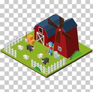 Farm 3D Computer Graphics Isometric Projection Illustration PNG