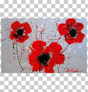 Acrylic Paint Floral Design Modern Art PNG