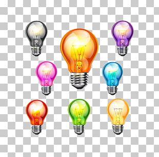 Incandescent Light Bulb Color LED Lamp PNG