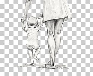 Mother Drawing Child Sketch PNG