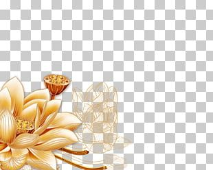 Golden Frame Computer Wallpaper Flower PNG