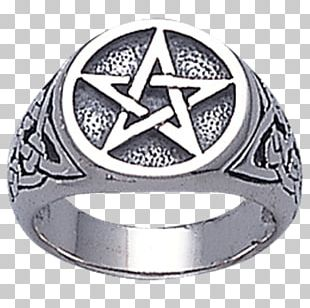 Ring Pentacle Pentagram Wicca Star Of David PNG