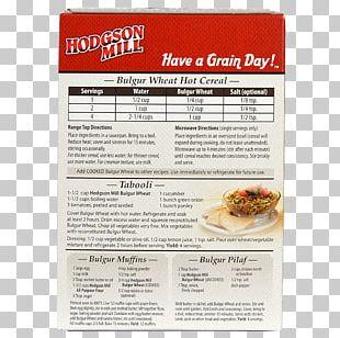 Breakfast Cereal Food Recipe Bulgur PNG