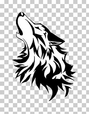 Gray Wolf Stencil Drawing Art PNG