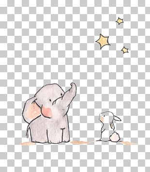 Elephant Star Rabbit Illustration PNG