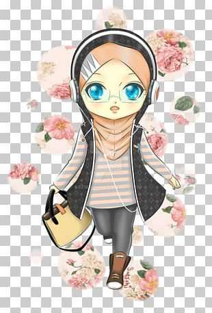 Chibi Anime Hijab Muslim Drawing PNG