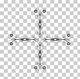 Silhouette Line Art Cross PNG