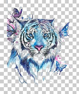 Tiger Butterfly Abziehtattoo Flash PNG