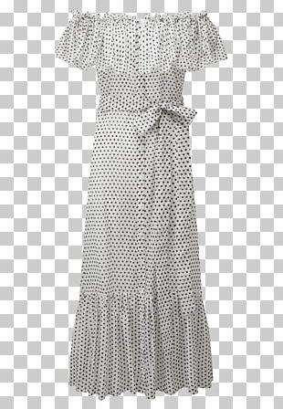 Polka Dot Shoulder Ruffle Sleeve Dress PNG