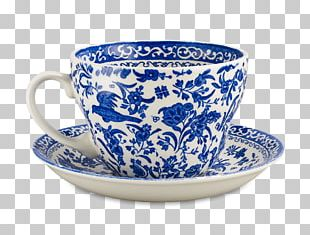 Coffee Cup Saucer Ceramic Blue And White Pottery Teacup PNG