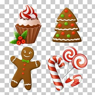 Christmas Cake Candy Cane Gingerbread Man PNG