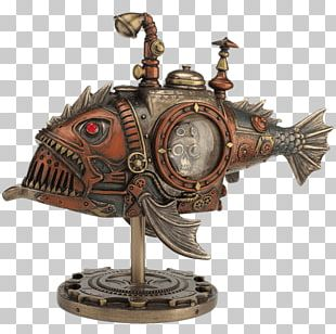 Steampunk Statue Figurine Black Seadevil Fish PNG