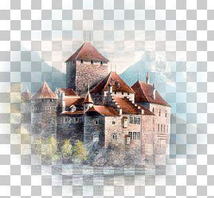 Castle Landscape Painting Architecture Château PNG