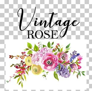 Vintage Rose Boutique & Flower Shop Watercolor Painting Flower Bouquet Coral PNG