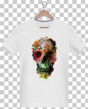 T-shirt Skull Flower Floral Design Human Head PNG