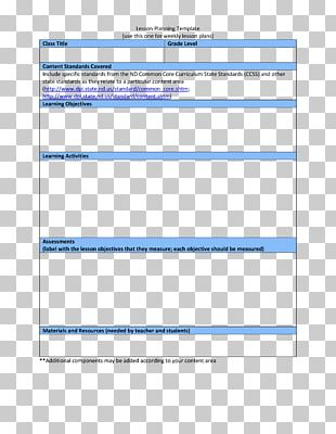 Lesson Plan Template Teacher Common Core State Standards Initiative PNG