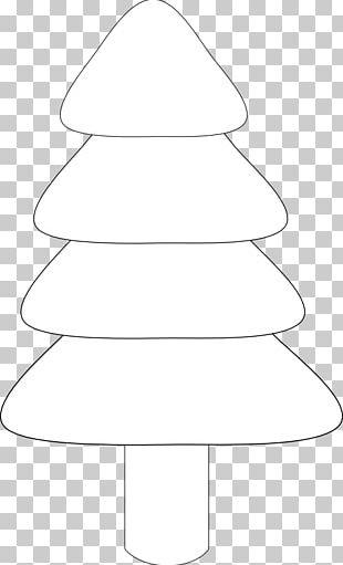 White Christmas Tree Line Art Black Angle PNG