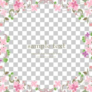 Pink Flowers Border Material PNG