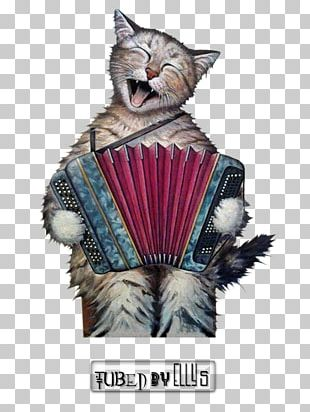 Cat Accordion Painting Art Musician PNG