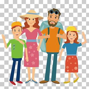 Family Camping Hiking Illustration PNG
