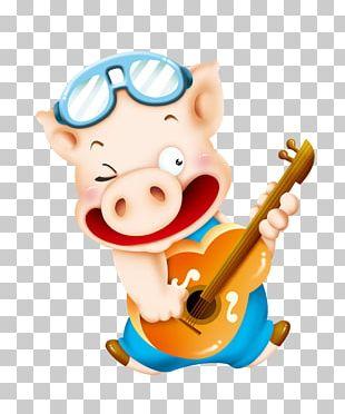 Domestic Pig Cute Funny Pig Creature Quest PNG