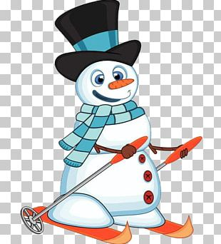 Snowman Skiing PNG