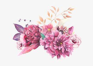 Watercolor Painted Purple Flowers PNG