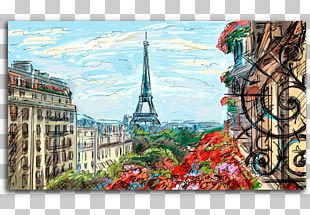Eiffel Tower Oil Painting Canvas Print Mural PNG