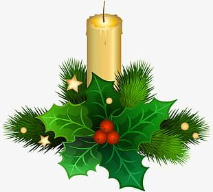 Christmas Candles Green Leaves PNG
