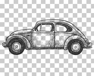 Retro Beetle Car Wireframe PNG
