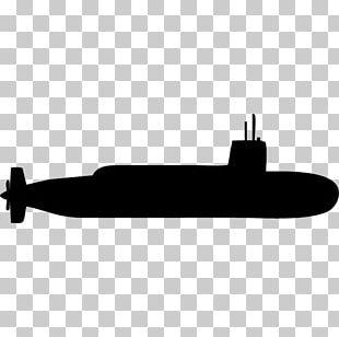Submarine Silhouette Black White PNG